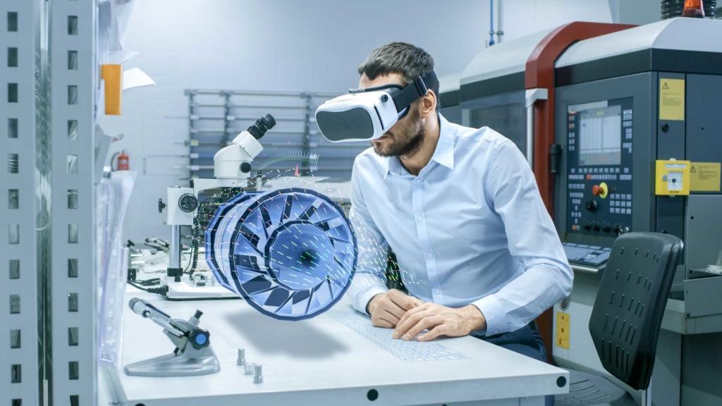 Ingénieur portant casque Réalité Virtuelle