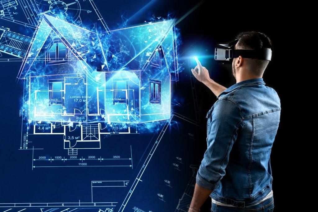 Homme avec casque de réalité virtuelle projetant un environnement autour de lui